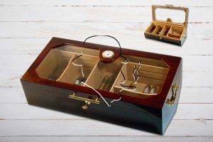 Humidor cherry/weinrot, glanz mit Verglasung für 100-150 Zigarren