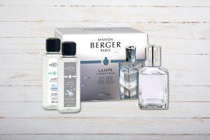 Lampe Berger Paris, Set Lampe Berger Paris, Set Essentielle Quadratisch, mit Duft Neutre Essentiel und Ocean Breeze, Maison Berger